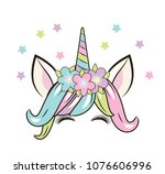 happy unicorn face with flowers ... | Shutterstock .eps vector #1076606996