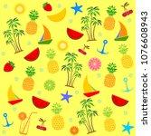 summer seamless pattern. yellow ... | Shutterstock . vector #1076608943