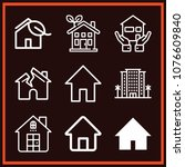 set of 9 home outline icons... | Shutterstock .eps vector #1076609840