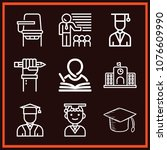 set of 9 student outline icons... | Shutterstock .eps vector #1076609990
