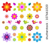 set of different flowers and... | Shutterstock .eps vector #107661020