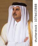 doha  qatar   20 mar 2018  emir ... | Shutterstock . vector #1076615888