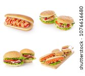 junk fast food collage of... | Shutterstock . vector #1076616680