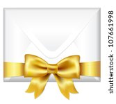 envelope face with golden bow ... | Shutterstock . vector #107661998