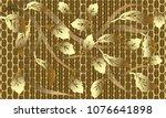 gold baroque floral 3d seamless ... | Shutterstock .eps vector #1076641898