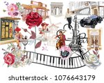 Set Of Paris Illustrations With ...