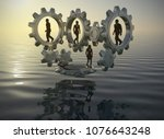 team on gears at the sea at...   Shutterstock . vector #1076643248