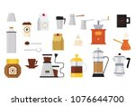 collection of icons on coffee... | Shutterstock .eps vector #1076644700