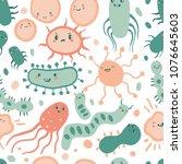 cute germ characters seamless... | Shutterstock .eps vector #1076645603