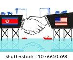 north korea and usa handshake... | Shutterstock .eps vector #1076650598