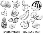 hand drawn healthy exotic... | Shutterstock .eps vector #1076657450
