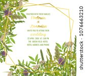 floral wedding invitation with... | Shutterstock .eps vector #1076663210