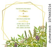floral wedding invitation with... | Shutterstock .eps vector #1076663216