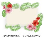 tropical flowers and leaves.... | Shutterstock .eps vector #1076668949