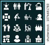 set of 16 people filled icons...   Shutterstock .eps vector #1076681783