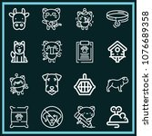 set of 16 animals outline icons ... | Shutterstock .eps vector #1076689358