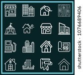 set of 16 buildings outline... | Shutterstock .eps vector #1076689406