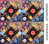 endless patchwork pattern with...   Shutterstock . vector #1076690060