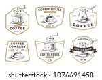 set of coffee shop emblems ... | Shutterstock .eps vector #1076691458