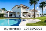 private house with pool and... | Shutterstock . vector #1076692028