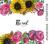 watercolor floral background....   Shutterstock . vector #1076693156