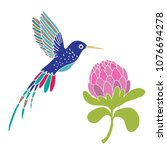 hummingbird and flower. hand... | Shutterstock .eps vector #1076694278