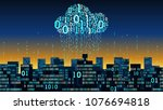 abstract futuristic smart city... | Shutterstock .eps vector #1076694818