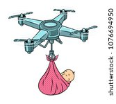 quadrocopter drone carries... | Shutterstock .eps vector #1076694950