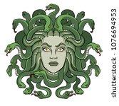 medusa head with snakes greek... | Shutterstock .eps vector #1076694953