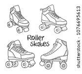 roller derby skates vector set... | Shutterstock .eps vector #1076695613