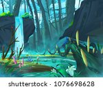 the waterfall forest with...