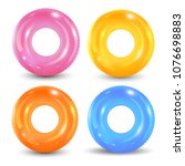swim rings set. inflatable... | Shutterstock .eps vector #1076698883