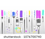 creative painting supplies... | Shutterstock .eps vector #1076700740