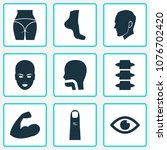 part icons set with finger ... | Shutterstock .eps vector #1076702420