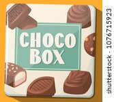retro metal box with chocolate... | Shutterstock .eps vector #1076715923