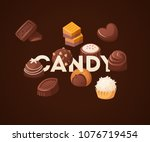 poster with chocolate sweets... | Shutterstock .eps vector #1076719454