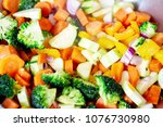 closeup of cooked colorful... | Shutterstock . vector #1076730980