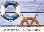 nautical concept with lifebuoy... | Shutterstock . vector #1076732099