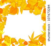 Autumnal seasonal frame with red, orange and yellow leaves. Vector version also available in gallery - stock photo