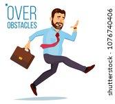 businessman jumping over... | Shutterstock .eps vector #1076740406