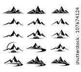 mountain icon clipart set | Shutterstock .eps vector #107674124