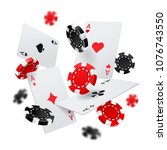 flying poker chips and aces... | Shutterstock .eps vector #1076743550