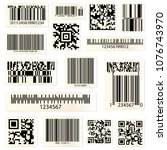 set of isolated barcodes and qr ... | Shutterstock .eps vector #1076743970
