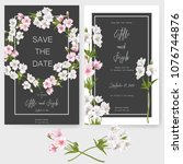 save the date card  wedding... | Shutterstock .eps vector #1076744876