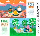 happy family outdoor horizontal ... | Shutterstock .eps vector #1076747510