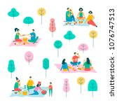 picnic in park  vector... | Shutterstock .eps vector #1076747513