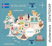 Stylized map of Iceland. Travel illustration with icelandic landmarks, architecture, national flag, and other symbols in flat style. Vector illustration