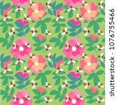 vector cute cartoon bee and...   Shutterstock .eps vector #1076755466