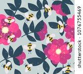 vector cute cartoon bee and... | Shutterstock .eps vector #1076755469