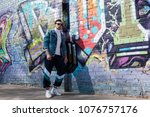 stylish young man in vintage... | Shutterstock . vector #1076757176